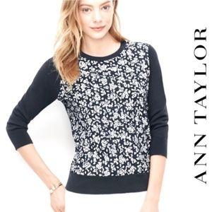 Ann Taylor Eyelet Floral 3/4 Sleeve Crew Sweater